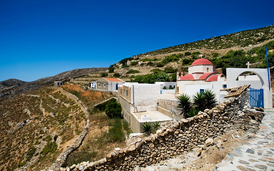 Aghios Mammas church where visitors can enjoy a stunning view of the Aegean.