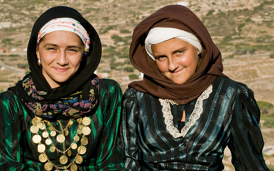 Girls in traditional dress for one of the island's many festivals.