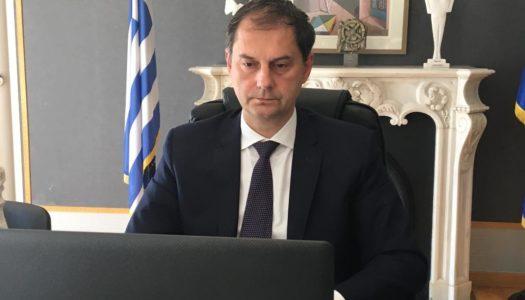 O υπουργός κ. Χάρης Θεοχάρης στην τηλεδιάσκεψη των υπουργών Τουρισμού της ΕΕ.
